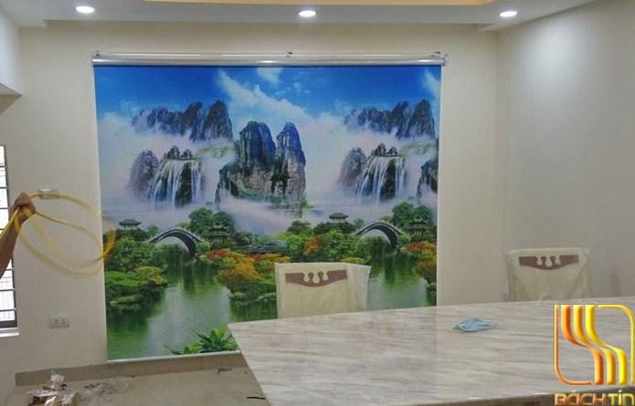 rèm cuốn in tranh hình núi non xanh biếc ở Đà Nẵng