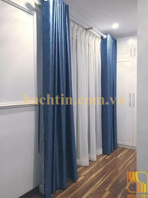 Rèm vải màu xanh trơn chống nắng