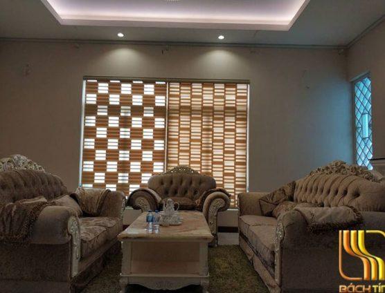rèm sáo cuốn 2 lớp ô vuông đẹp biệt thự ở Đà Nẵng