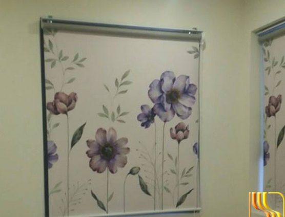 rèm sáo cuốn chống nắng in hoa tím ở Đà Nẵng
